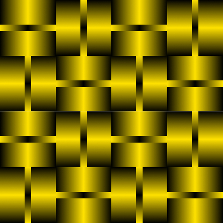 timeless: Decorative tile with golden or brass elements. Background in metal design. 3d optical art illusion. Illustration