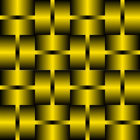 Decorative tile with golden or brass elements. Background in metal design. 3d optical art illusion. Illustration