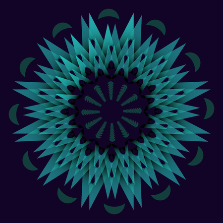 arte optico: Dark green abstract star element in optical art style. Concentric star shapes on dark background. Mandala for calm sleep obtaining