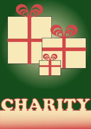 generosity: Christmas charity with simple boxes, red ribbons and charity inscription. Illustration