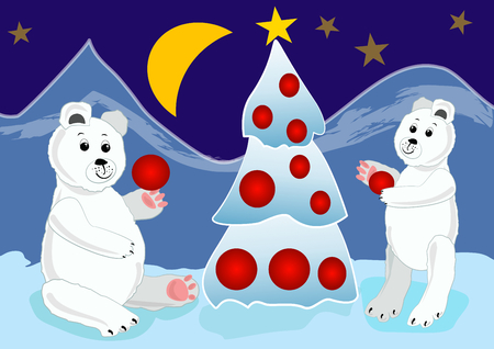 Ice bear cubs preparing christmas tree with red baubles. Christmas card illustration for children.