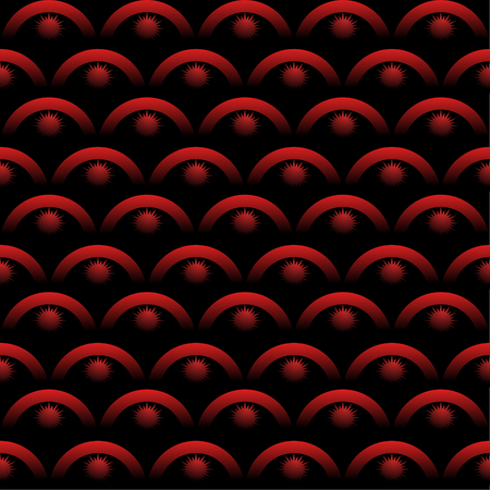 arte optico: Fondo transparente con elementos de arte ópticas en color rojo sobre fondo negro. patrones de escala con efecto de degradado 3d. Vectores
