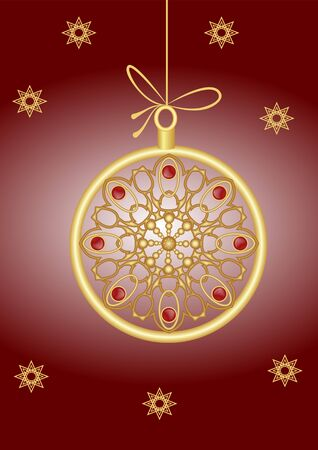 Christmas card with elegant golden xmas bauble in jewel style, filigree patterns with red gemstone, small stars. Vector illustration on dark red gradient background.