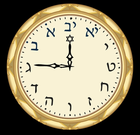 Golden hebrew clock with hebrew alefbet characters on clock face.