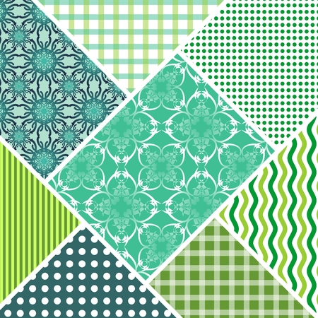 Patchwork decorative vector abstract tile in style stitched textile patches with different ornament in green and white