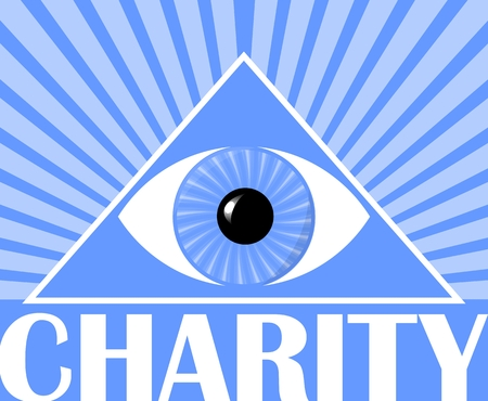 Charity flyer with a symbol of Gods eye in triangle. Blue background with white rays. Poster for christian charity events. Illustration