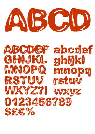 Red alphabet in shabby design, chipped paint, uppercase and lowercase letters, numbers, characters, currency symbols. Original font for grunge design.