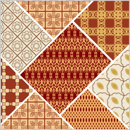 Decorative vector abstract tile in style stitched textile patches with different ornament in beige and red Illustration