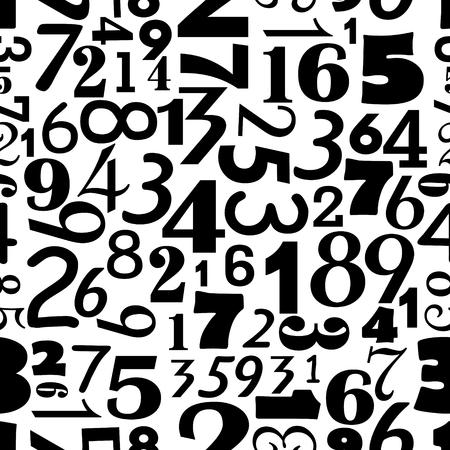 Les chiffres sur seamless fond monochrome. Différents chiffres de différentes tailles et police. fond d'écran numérique.
