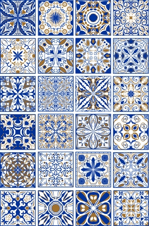 Mega set of traditional spanish or portuguese ceramic and pottery ornamental tiles in indigo and golden design. Ilustração