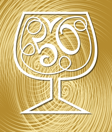 Anniversary celebration on elegant gold textured background. Monoline drawing on golden background. Stylized number 50 in a wine glass, fiftieth birthday celebration.