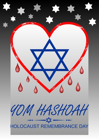 genocide: Holocaust remembrance day, hebrew text yom hashoah. Flyer with bleeding heart and David star symbol. Illustration