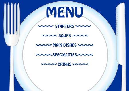 directly: Menu template with plate, knife and fork. Write your own menu items directly to the plate