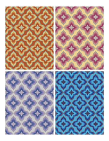 muted: Geometric patterns in retro nostalgic colors. Set of seamless patterns in vintage style.