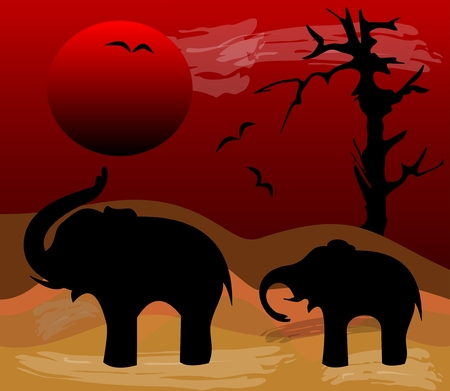 sandy: Elephants black silhouettes in evening Africa desert. Sinking red sun over a sandy landscape with dead tree