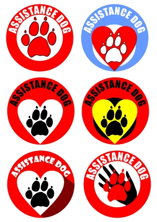 dog wheelchair: Set of assistant dog emblems and sticker. Motif of dog track, heart, human hand. Distinctive collection in vivid colors.