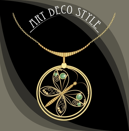 antiquarian: Golden jewel with butterfly, green gems. Necklace in art deco style. Circle pendant on filigree golden chain. Illustration