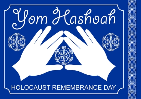 holocaust: Holocaust theme in white and blue design. Cohen blessing hands with traditional flourish motif, hebrew text Yom hashoah. Memorial to the victims of nazism Illustration