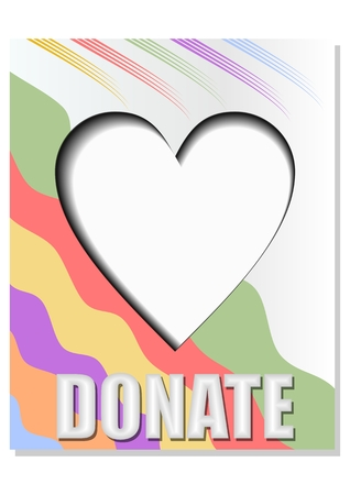 Donate banner with hearth, decorated with abstract wavy strips in soft pastel colors, inner shadow effect Illustration