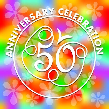 Anniversary celebration on vivid rainbow psychedelic background. Monoline drawing on colorful background. Stylized number 50 for fiftieth birthday celebration.