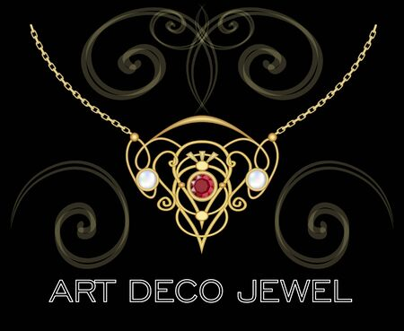 ruby: Art deco jewel. Vintage gold necklace in victorian style. Retro filigree . Antiquarian jewelry. Ancient vector object. Pendant with ruby and pearl on golden chain. Illustration