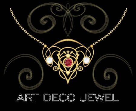 antiquarian: Golden jewel with red gem and pearls. Necklace in art deco style. Filigree circle pendant on fine golden chain.