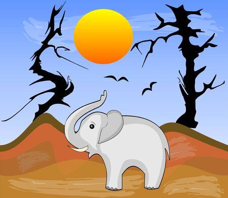 Elephant in Africa arid desert with dry trees, vector illustration
