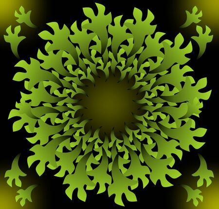 Fantasy vegetal inspired decorative green vector shape in fractal style with 3d effect on black background Illustration
