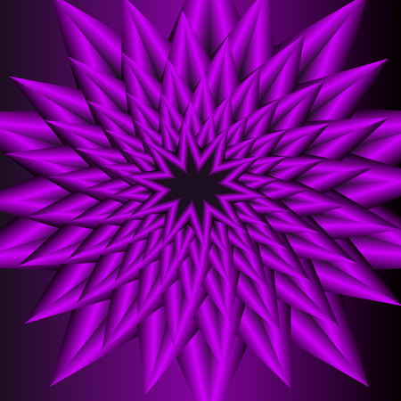 encasement: Purple  circle star shape with optical art effect, flourish object on dark purple background, vector decoration. Abstract vector, jagged flower pattern in fractal style with 3d effect. Illustration