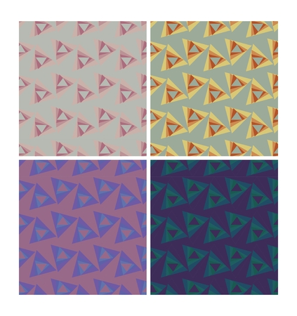 70's: Triangle patterns in retro nostalgic colors. Set of seamless patterns in 70s or 80s style, vector eps10 tile Illustration
