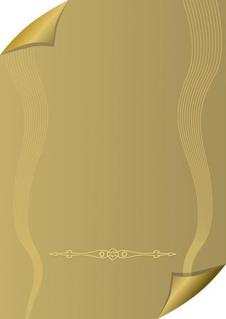 wallpaper copper gold golden: Golden paper background with rolled corners, wavy watermark and horizontal divider, vector eps10