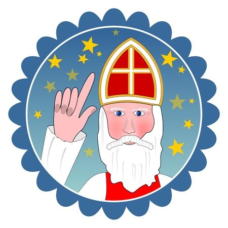 sinterklaas: Saint Nicolas portrait in circle shape.