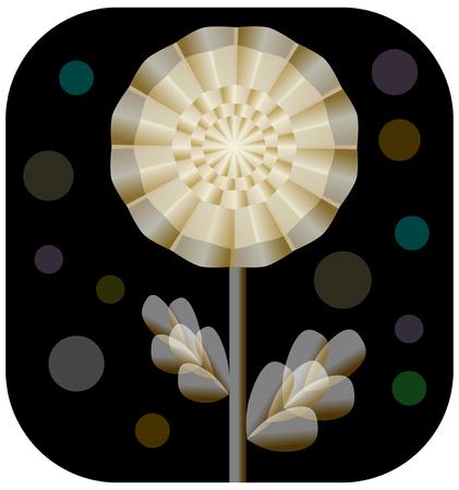 Fantasy golden flower from transparent stuff on black layout. Illustration
