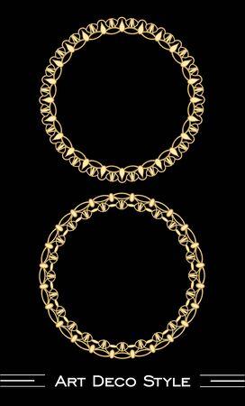 antiquarian: Elegant antiquarian golden circle frames in art deco style.