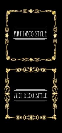 metalic: Elegant antiquarian golden square frames in art deco style, 3d illusion in filigree metalic ornament, eps10 vector