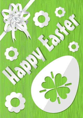 Happy Easter poster with white paper cuted egg, flowers and ribbon on green background