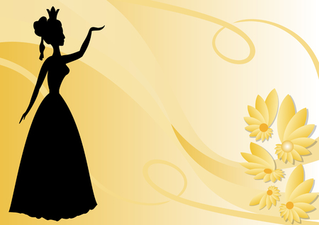 Leaflet background with black victorian lady silhouette on pastel yellow wallpaper with flowers, vector EPS 10 Illustration