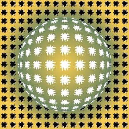Seamless background in optical art style, yellow and green ball with uneven stars, vector EPS 10
