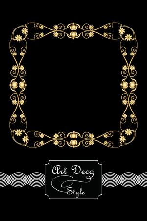 antiquarian: Elegant antiquarian golden square frames in art deco style, 3d illusion in filigree metalic ornament