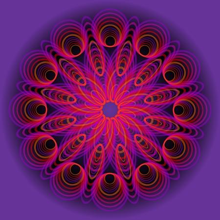 arte optico: Purple circle mandala in optical art style for spiritual training and meditation, vector EPS 10