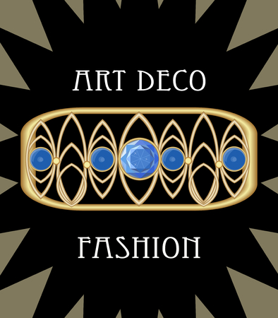Expensive art deco filigree brooch in rectangle composition with blue sapphires, antique gold jewel, fashion in victorian style, vector EPS 10 Vettoriali