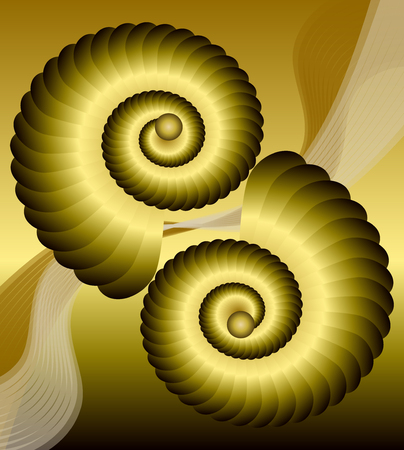 Golden background with shiny shells in optical art style with 3d illusion, shapes on golden area with wavy patterns
