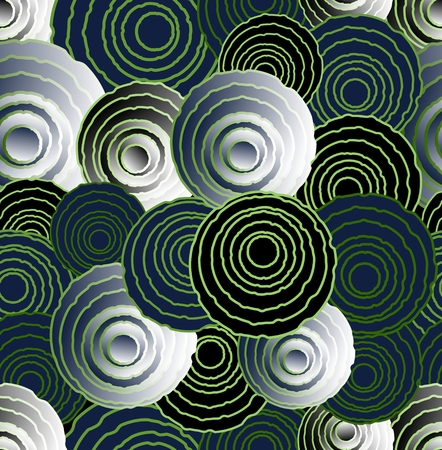 Abstract uneven circle elements in optical art style, seamless futuristic background, 3d effect illusion