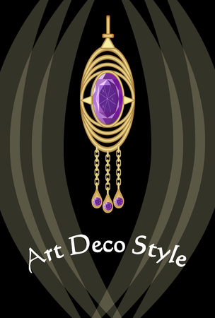 antiquarian: Luxurious art deco jewel, earring with purple gemstone amethyst , victorian old-fashioned style, antique expensive gold
