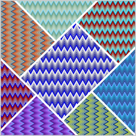 Chevron patchwork tile, multicolored design element, decorative background Illustration