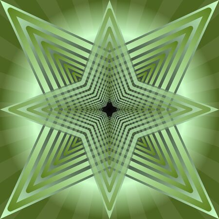 semitransparent: Green tile with abstract semitransparent star shape on green gradient baackground Illustration