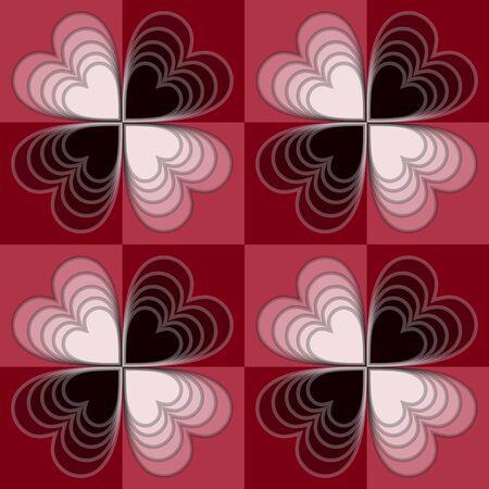 Optische kunst checker achtergrond met witte en zwarte harten.