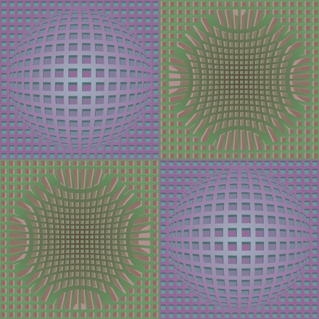 encasement: Abstract purple and green vector background with deformed grid in optical art style, 3d effect illusion