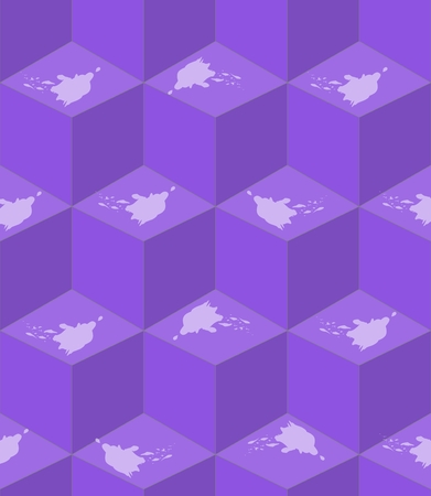 encasement: Abstract purple seamless background with cube patterns white splashes in optical art style, 3d effect illusion