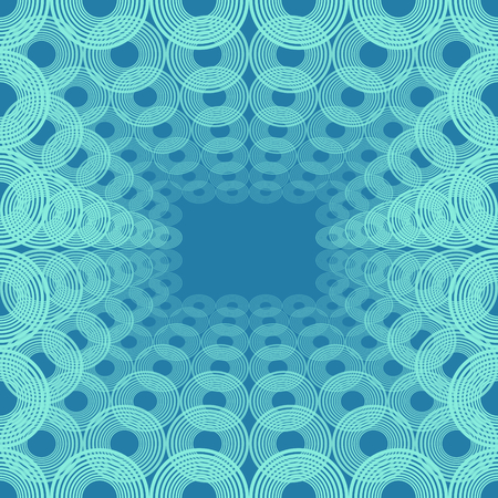 Spatial pattern of concentric circles, blue decorative background tile in op-art style